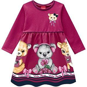 Kyly Vestido Infantil Feminino Malha Manga Longa 207375 Cor Pink