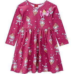 Kyly Vestido Infantil Feminino Malha Manga Longa 207373 Cor Pink