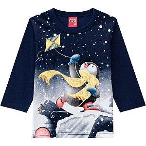 Kyly Camiseta Infantil Masculina Manga Longa 207425 Cor Preto