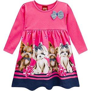 Kyly Vestido Infantil Feminino Malha Manga Longa 207341 Cor Rosa