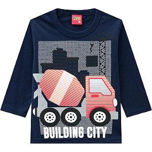 Kyly Camiseta Infantil Masculina Manga Longa 207426 Cor Azul Marinho