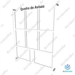 Quadro de Aviso em Acrílico 8 folhas - 2 Horizontais 6 Verticais A4