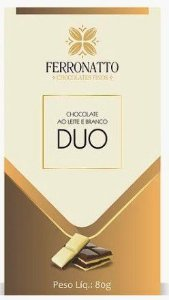 Barra Duo Chocolate ao leite e branco 80g Ferronatto