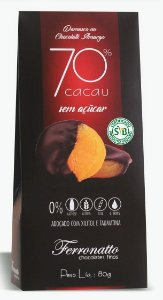 Damasco no Chocolate Amargo 70% cacau Zero Açúcar 80g Ferronatto