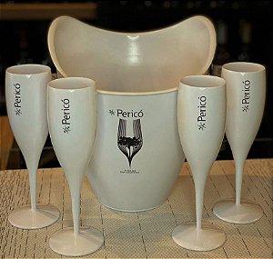 Champanheira com 6 taças acrílico brancas Pericó