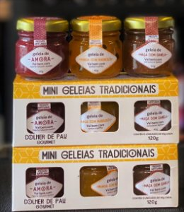 Kit Mini Geleias Tradicionais com 3 sabores Colher de Pau Gourmet