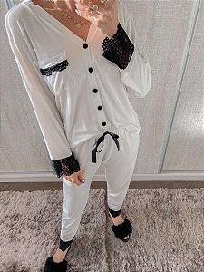 Pijama Viscolycra Off White Confort