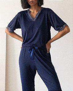 Pijama Liganete Manga Curta Azul