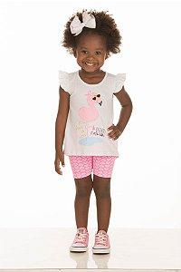 Conjunto Feminino Blusa e Bermuda Cotton (RK10250)