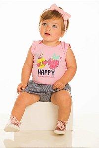 Conjunto Bebê menina Body e Shorts saia (RK7073)