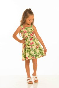 Vestido Com Alça Estampa Folhagem-34206