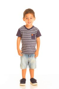 Camiseta Masculina Listrada com Bolso (RK22124)