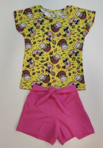Conjunto Feminino Blusa e Shorts com detalhe de Nó-7610