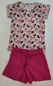 Conjunto Feminino Blusa e Shorts com nó-7631