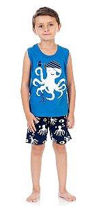 Pijama Masculino Regata e Shorts (Brilha no escuro)-9036