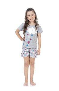 Pijama Feminino Manga curta e Shorts (brilha no escuro)-9034