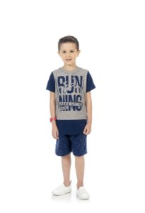 Conjunto Masculino Camiseta e Bermuda em moletinho-BB4050