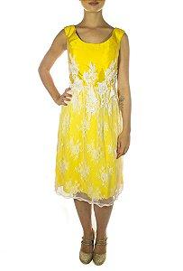 Vestido Liberdade Com Guipir - Amarelo