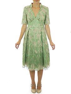 Vestido Roda Peão Arabescos - Verde