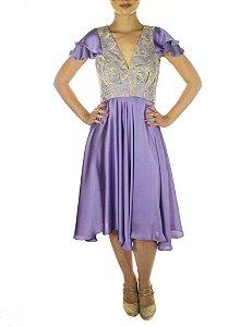 Vestido Roda Peão Liso - Lilás