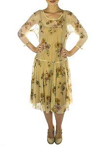Vestido Tule Floral - Bege