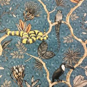 Tecido Garden Juquey Animais - Coleção Bahia