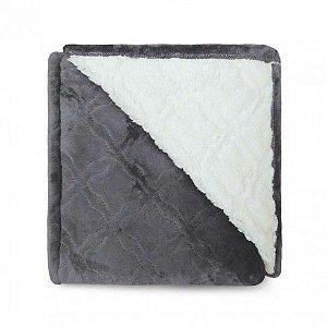Cobertor Sherpa Glamour Appel Chumbo - Casal