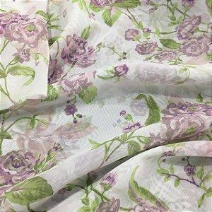 Voil Estampado 2,80m - Floral Lilas