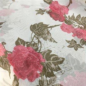 Voil Estampado 2,80m - Floral Rosa