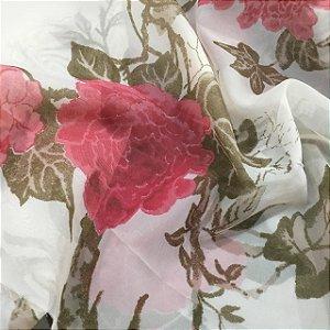 Voil Estampado 2,80m - Floral Rosa e Marrom