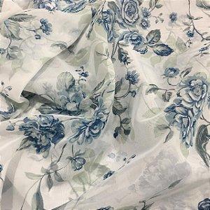 Voil Estampado 2,80m - Floral Azul