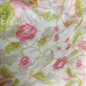 Voil Estampado 1,50m - Floral Rosa