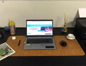 Desk Pad Couro Vegano Caramelo - 90cm X 40cm