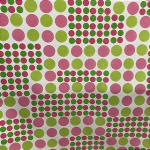 Tecido Cotton Estampado 100% Algodão - Bolinha Rosa
