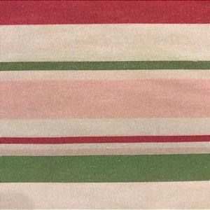Tecido Cotton Estampado 100% Algodão - Listrado Lilas/Vermelho