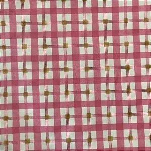 Tecido Cotton Estampado 100% Algodão - Xadrez Rosa
