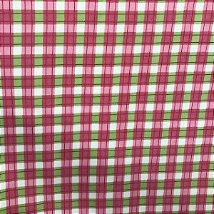 Tecido Cotton Estampado 100% Algodão - Xadrez Rosa/Verde