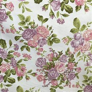 Tecido Cotton Estampado 100% Algodão - Floral Rosa/Lilas