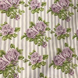 Tecido Cotton Estampado 100% Algodão - Listrado Floral Lilas