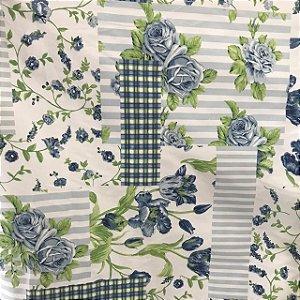 Tecido Cotton Estampado 100% Algodão - Patwork Azul