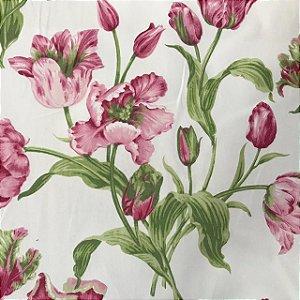 Tecido Cotton Estampado 100% Algodão - Floral Rosa