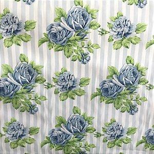 Tecido Cotton Estampado 100% Algodão - Floral Azul