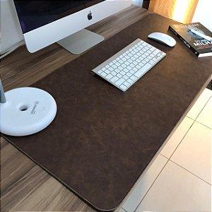 Desk Pad Couro Vegano Chocolate - 90cm X 40cm - Costurado
