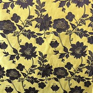 Jacquard Fio Tinto Istambu - Floral Amarelo