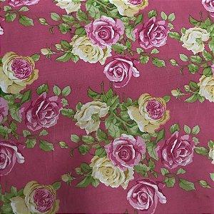 Linho Estampado - Floral Rosa
