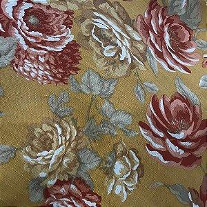 Linho Estampado - Floral Mostarda