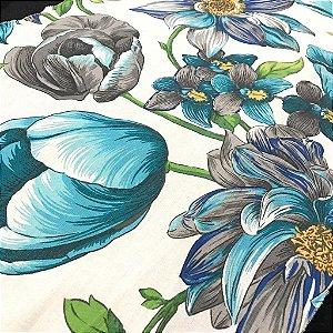 Linho Estampado - Floral Turquesa