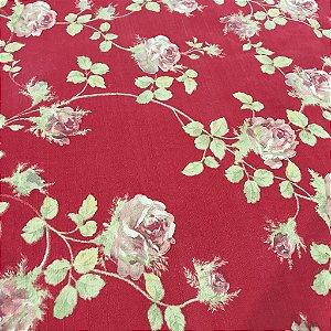 Linho Estampado - Floral Vermelho