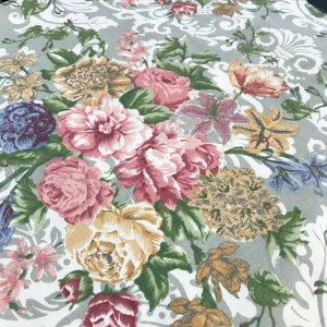 Linho Estampado - Floral Fundo Bege