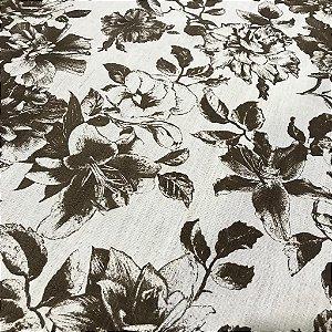 Linho Estampado - Floral Marrom